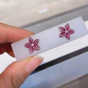 🎅Swarovski TROPICAL pink flower earrings